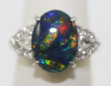 Platinum Australian Lightning Ridge Black Opal & Diamond Ring