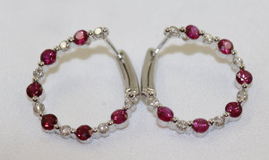 18K White Gold Ruby & Diamond Left/Right Hoop Earrings