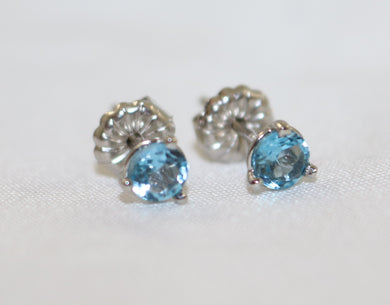 14K White Gold Martini Set Blue Topaz Stud Earrings