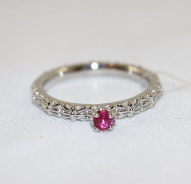 Stackable Expressions Sterling Silver Rhodium Plated Created Ruby Ring