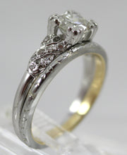 Lady's 18K White Gold Engagement Ring with 17 Round Diamonds and 18K White and Yellow Gold Wedding Band Size 6