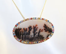 "One Of A Kind 14K Yellow Gold Picture Agate w/Multi-Colored Sapphire Accent 18"" Necklace"