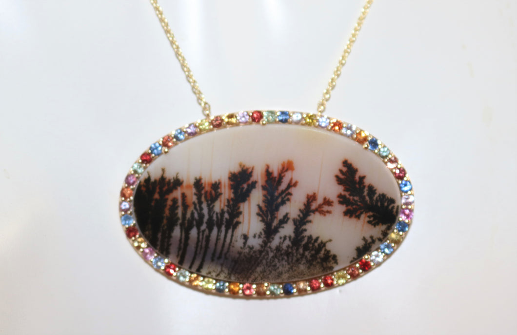 One Of A Kind 14K Yellow Gold Picture Agate w/Multi-Colored Sapphire Accent 18