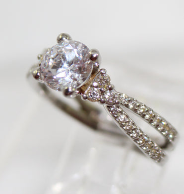 Scott Kay Semi-Mount Engagement Ring with Side Diamonds Set in Platinum- Estate Jewelry