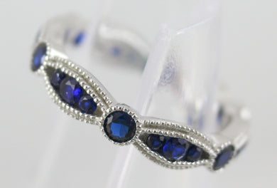 Sterling Silver Rhodium Plated Synthetic Blue Spinel Ring Size 8