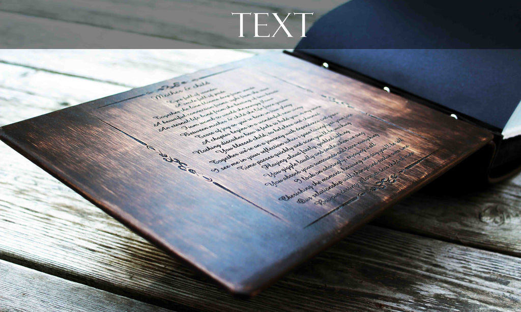 Add A Custom Engraving or Photo - Rustic Engravings Photo Album Fifth Wedding Anniversary Gift