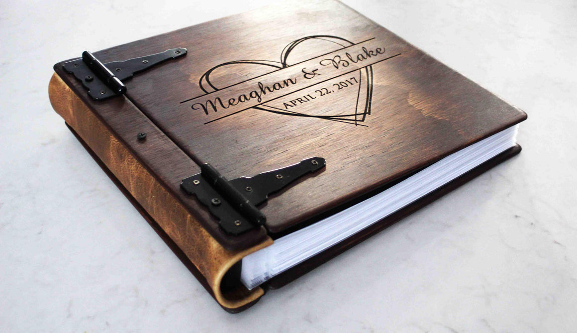 Large Square Wooden Book - Rustic Engravings Photo Album Fifth Wedding Anniversary Gift