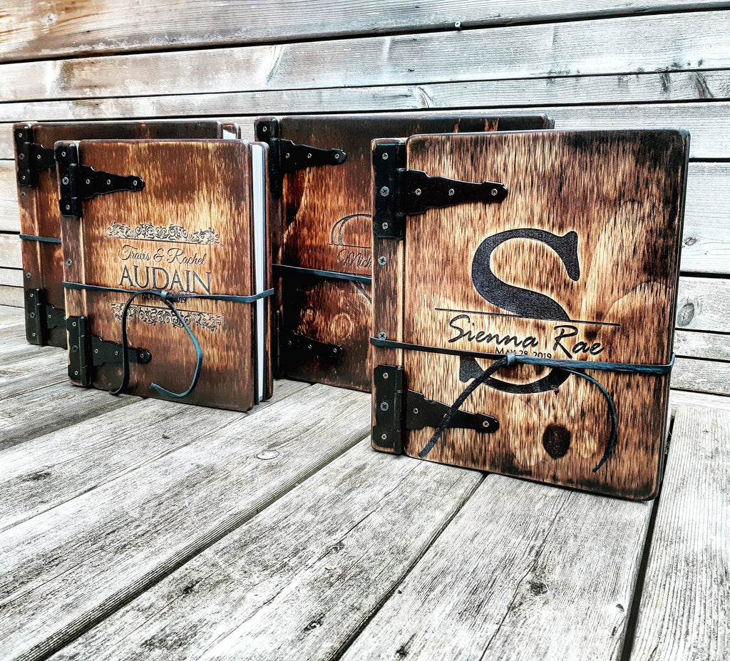 Portrait Wooden Book - Rustic Engravings Photo Album Fifth Wedding Anniversary Gift