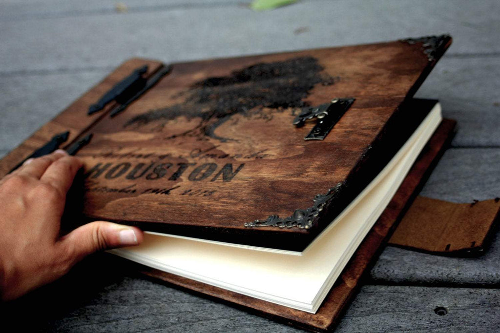 Landscape Wooden Book - Rustic Engravings Photo Album Fifth Wedding Anniversary Gift