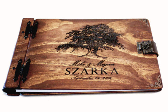 Large Panorama Wooden Book - Rustic Engravings Photo Album Fifth Wedding Anniversary Gift