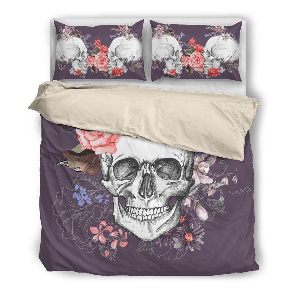 floral skull bedding - day of the dead duvet set (3 pc) – but