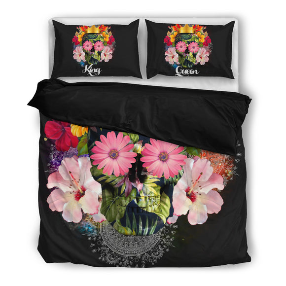 king and queen flower skull bedding set