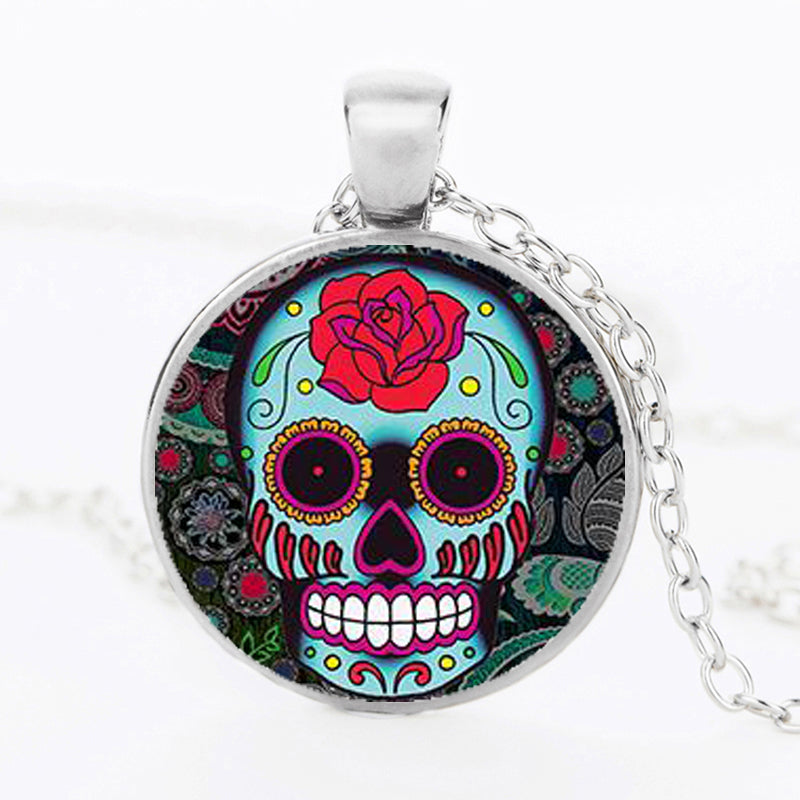 Sugar skull glass dome pendant and chain necklace day of the dead sugar skull glass dome pendant and chain necklace day of the dead art aloadofball Image collections