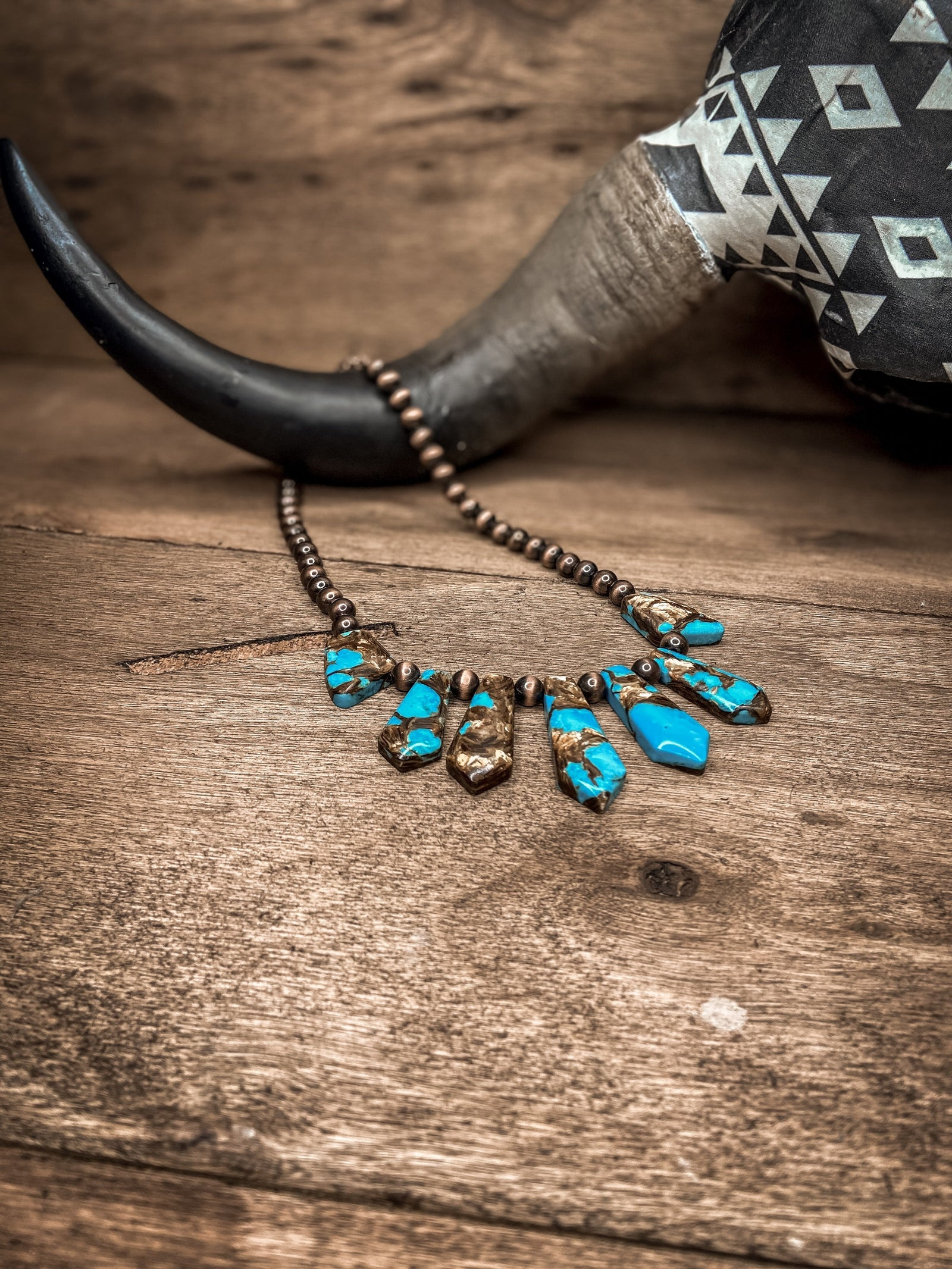 Short Turquoise Stone Necklace -Copper