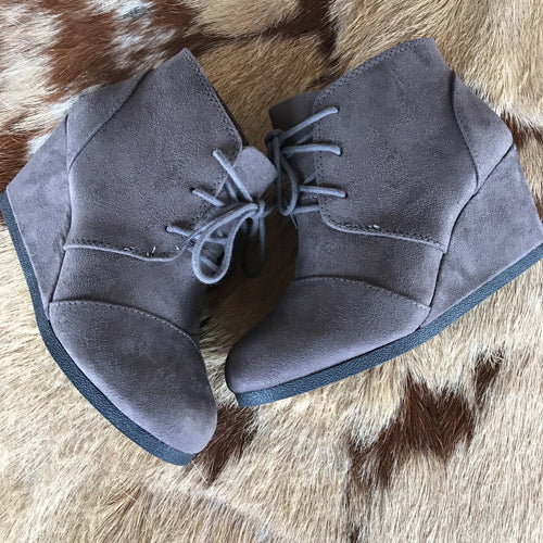 Charcoal suede wedges