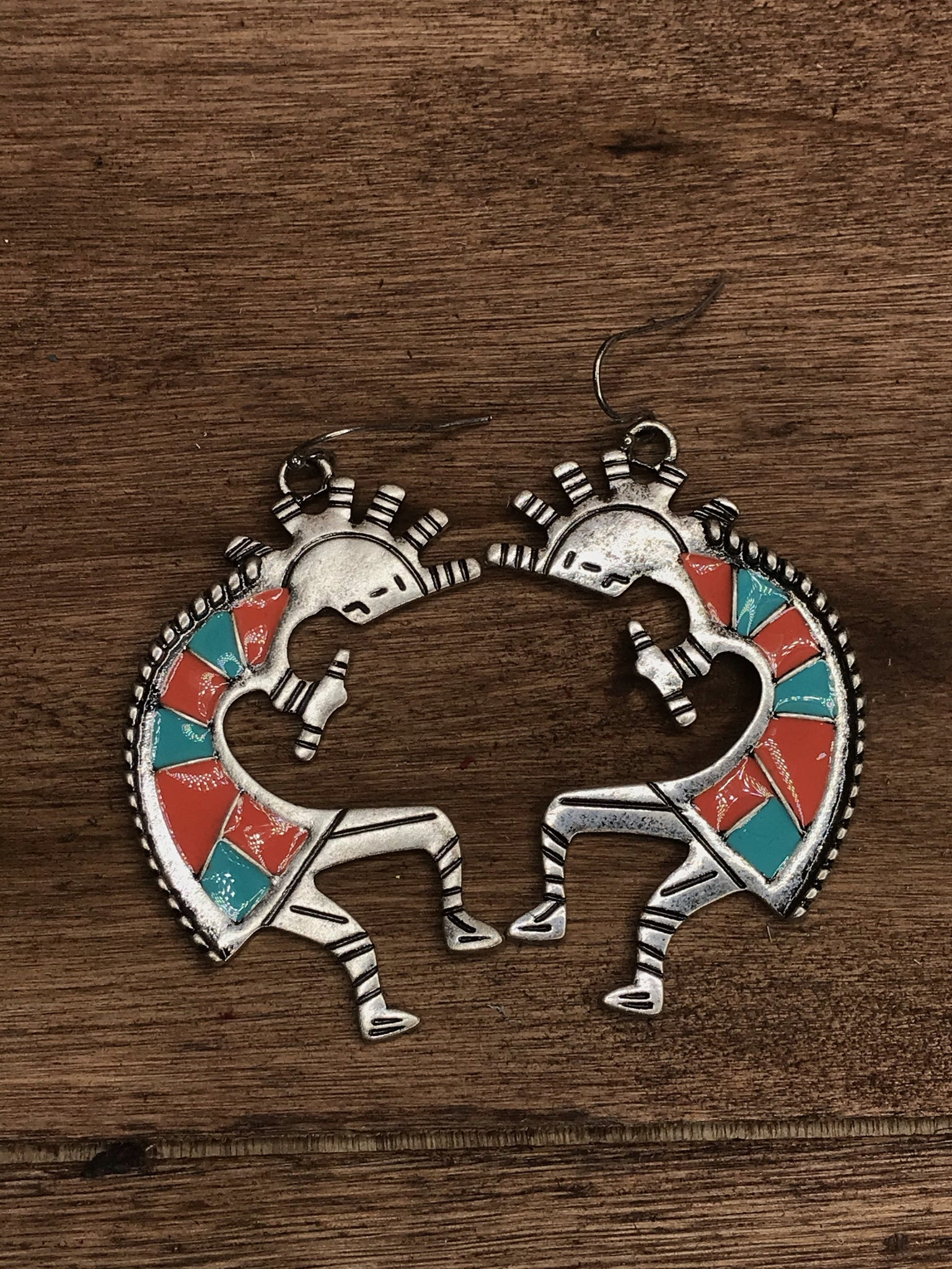 Turquoise and Coral Kokopelli Earrings