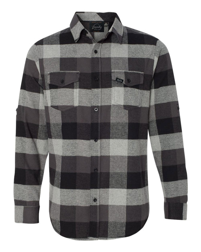 Against The Flow - Black Plaid -  Button Up Flannel - Foundry Fishing