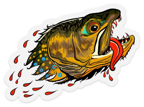 Badgers Water Wolf - Brook Trout - Clear Sticker - Foundry Fishing