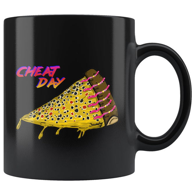 Cheat Day Cheat Day - Brown Trout -  Fly Fishing Coffee Black Mug - Foundry Fishing