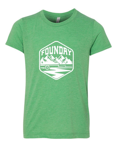 The Mountain Kids Shirt - Green  - White Ink * - Foundry Fishing