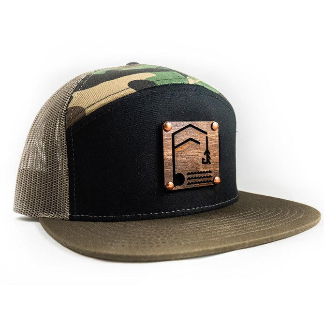 Geometric Foundry - Wooden Patch - 7 Panel Trucker Hat