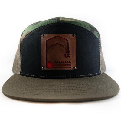 Geometric Foundry - Leather Patch - 7 Panel Trucker Hat - Foundry Fishing