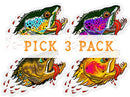 Badgers Water Wolf - Pick 3 Pack - Clear Stickers - Foundry Fishing