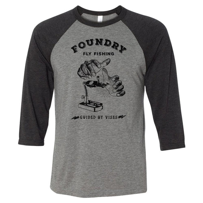 Guided By Vises - Screen Printed 3/4 Sleeve Raglan - Foundry Fishing