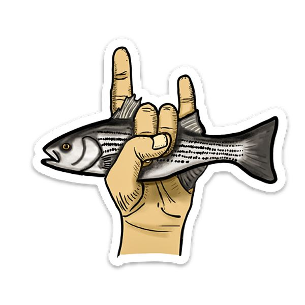 Rock Fish  - Striped Bass Fly Fishing Sticker - Foundry Fishing