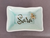 Turquoise Blue Personalized Jewelry Dish,  Monogram Ring Dish
