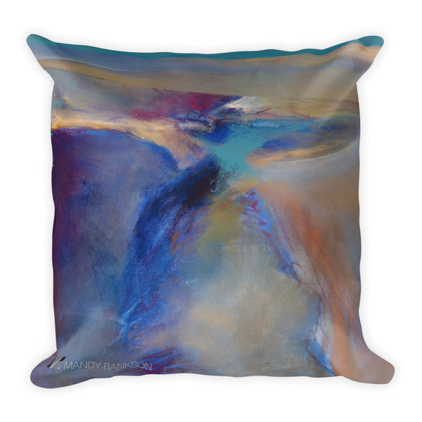 """Deep Places"" Square Pillow - Mandy-Bankson - colorful contemporary abstract paintings and archival prints"