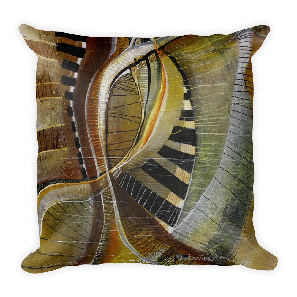 """Keys of Life"" Square Pillow - Mandy-Bankson - colorful contemporary abstract paintings and archival prints"