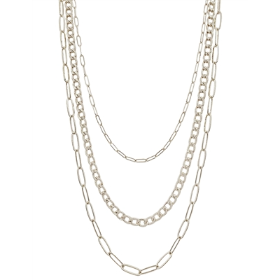 "Multi Triple Layered Chain 18-20"" Necklace"