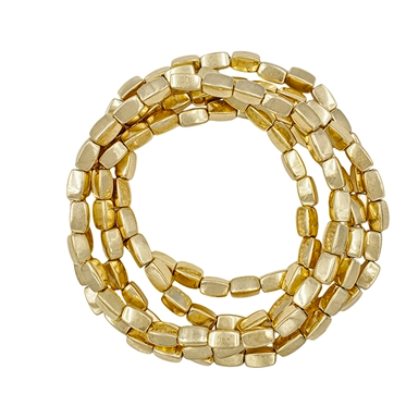 Gold nugget stretch bracelet set