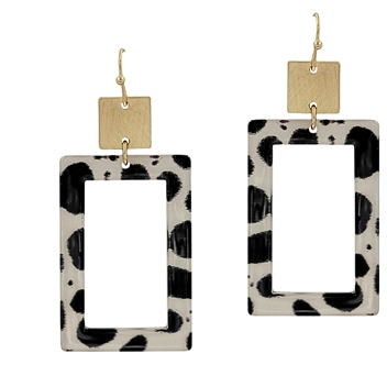 Acrylic rectangle earring black/white/gold