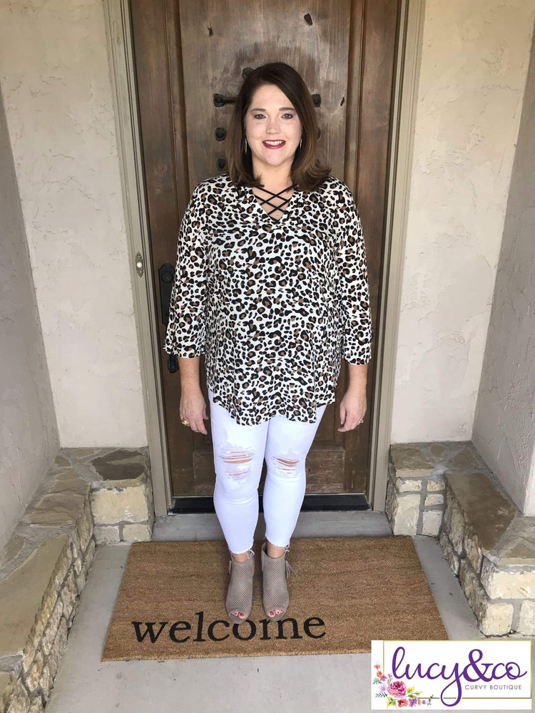 Leopard ivory top - Tops