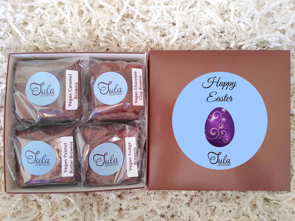 Vegan Easter Brownie Lovers Gourmet Assorted Bakery Gift Box, Non Dairy, (Contains Peanuts)