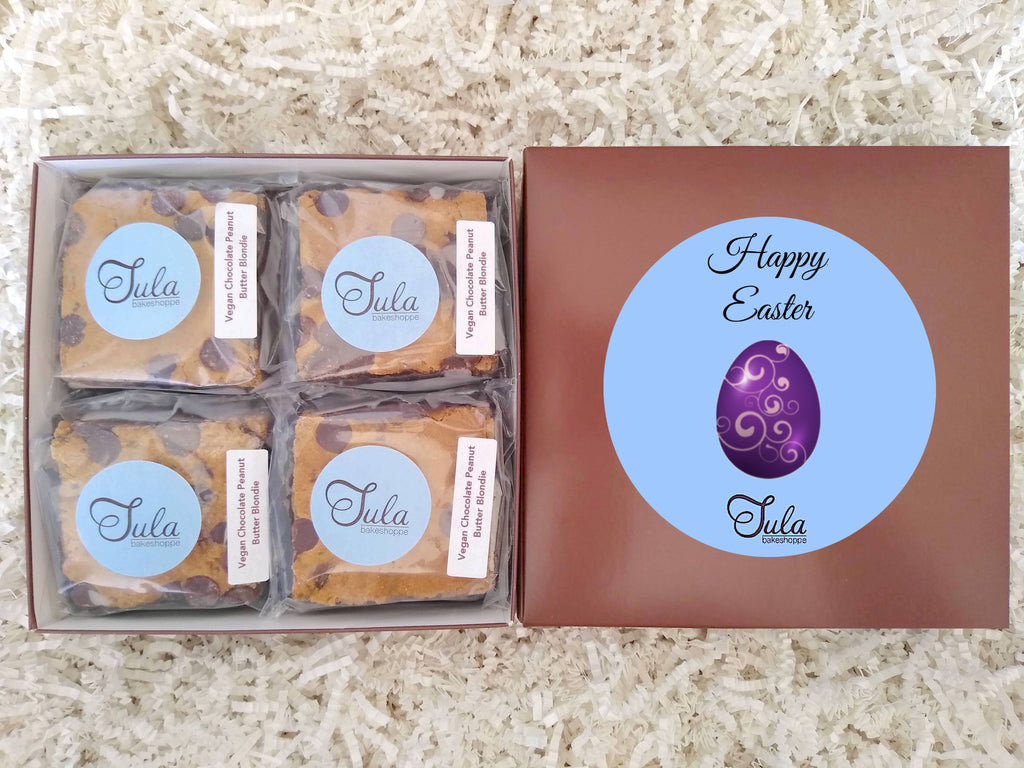 Vegan Easter / Spring Chocolate Peanut Butter Blondie Gourmet Gift Box, Individually Wrapped