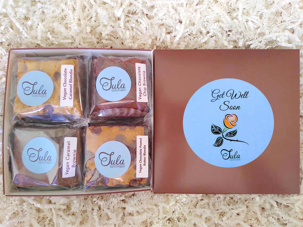Vegan Get Well Soon Gourmet Cookie Bars Variety Sampler Dairy Free Baked Items Gift Box, Business / Corporate Gifting