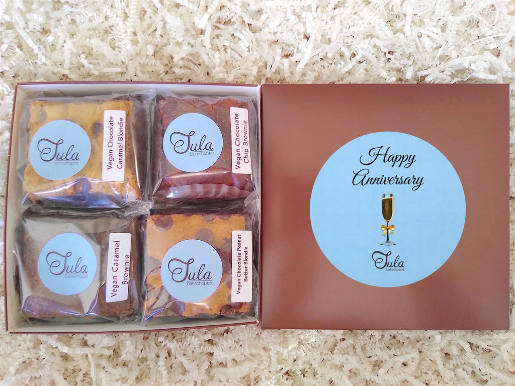 Vegan Happy Anniversary Gourmet Cookie Bar Assorted Dairy Free Baked Items Gift Box