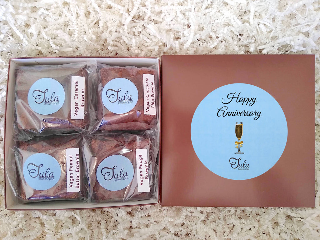 Vegan Anniversary Brownie Lovers Gourmet Bakery Package Snack Gift Box (Contains Peanuts)