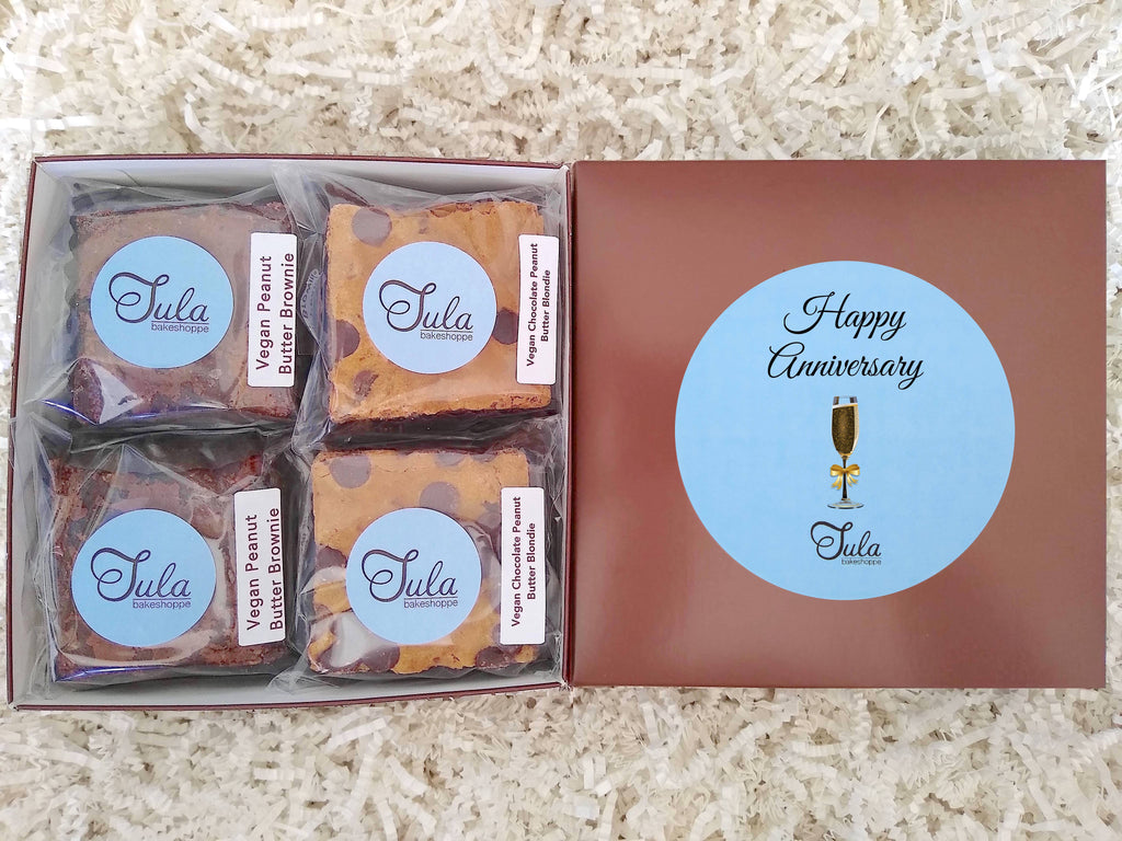 Vegan Happy Anniversary Peanut Butter Bar Lovers Baked Goods Food Gift Box