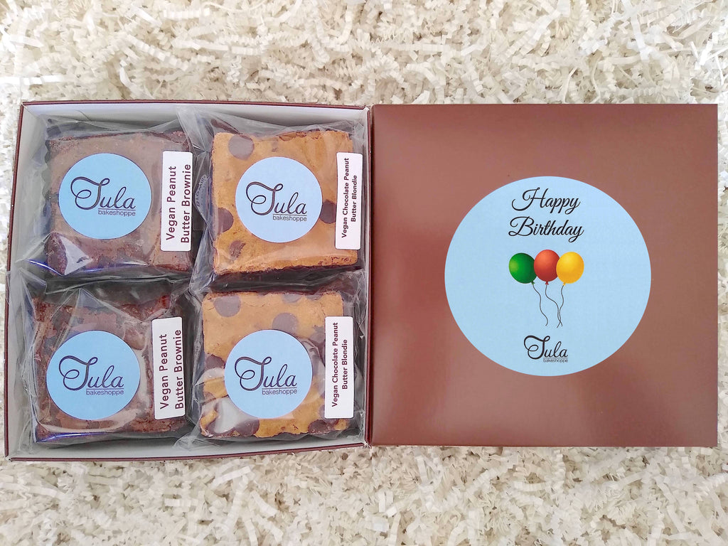 Vegan Happy Birthday Peanut Butter Bar Lovers Baked Goods Food Gift Box