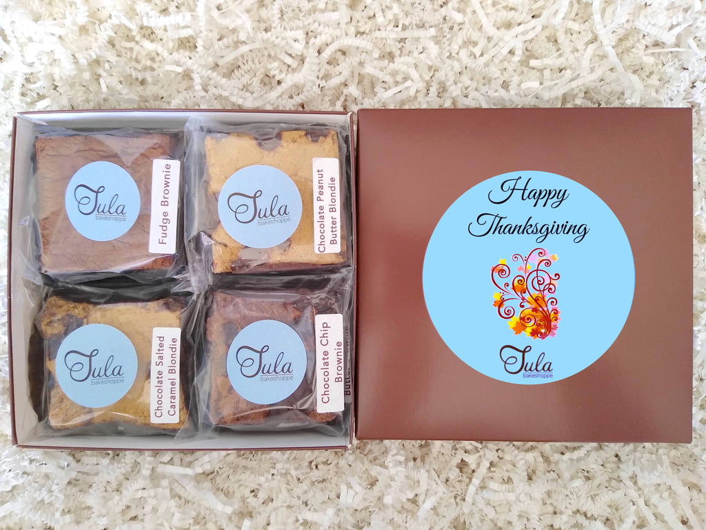 Happy Thanksgiving Gourmet Cookie Bar Assorted Baked Items Gift Box