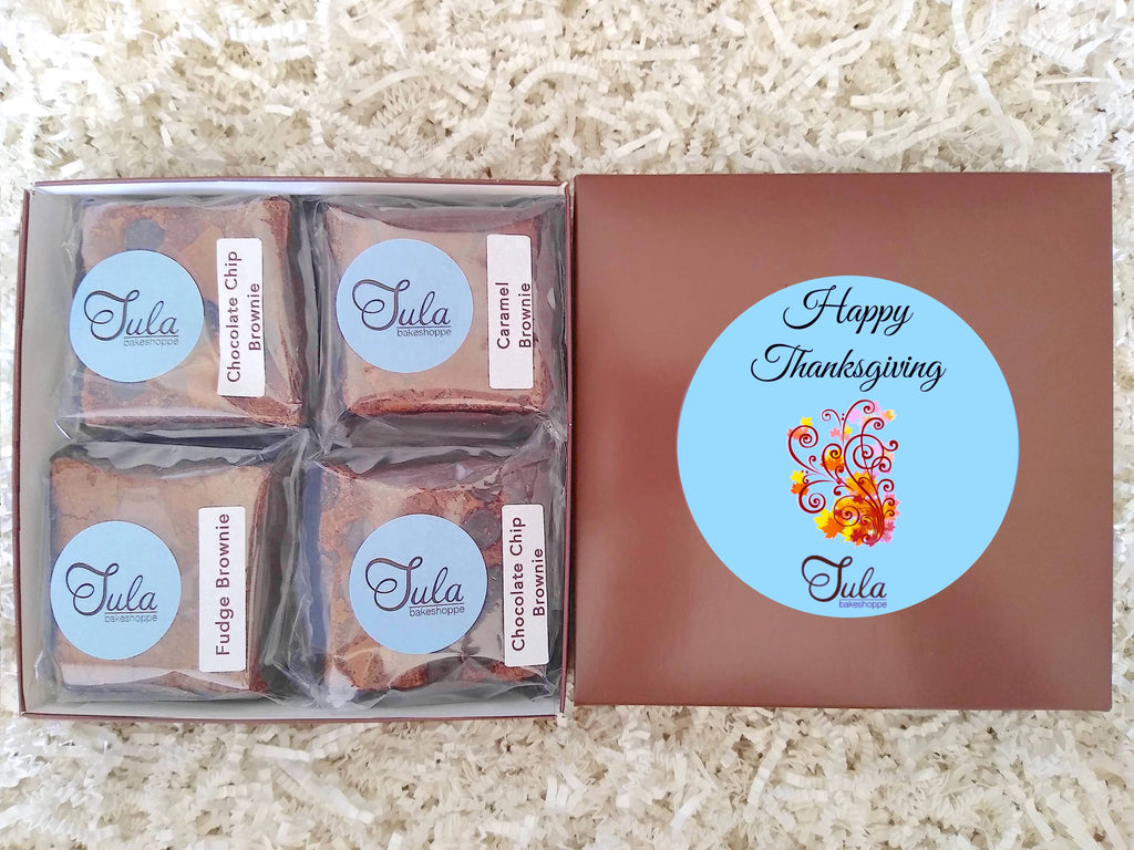 Happy Thanksgiving Peanut-Free Assorted Brownies Gourmet Care Package, Individually Wrapped