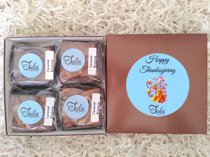 Thanksgiving Caramel Brownie Gourmet Dessert Food Gift Baskets