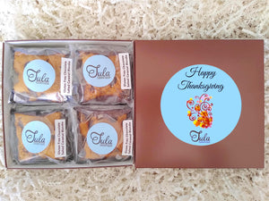 Gluten Free Thanksgiving Chocolate Salted Caramel Blondie Favors Gourmet Cookie Bar Gift Box