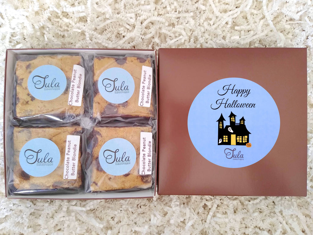 Halloween Chocolate Peanut Butter Blondies Creepy Gourmet Pastries Gift Box