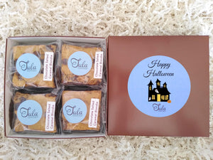 Halloween Chocolate Salted Caramel Blondies Favors Gourmet Cookie Bars Gift Box