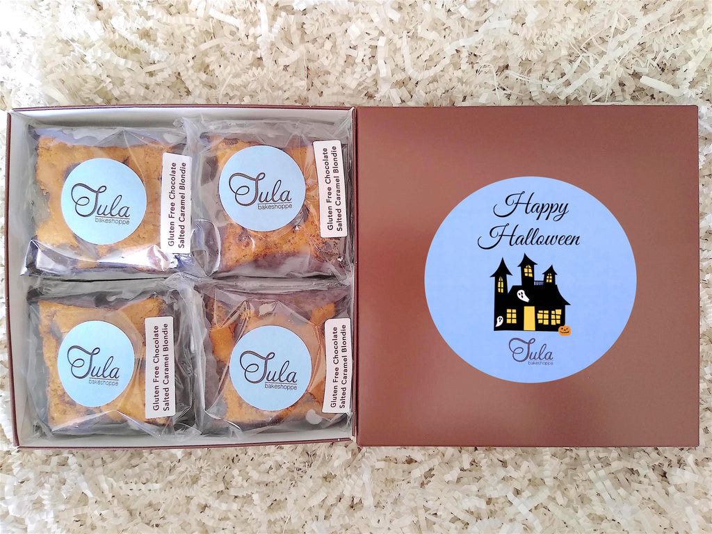 Gluten-Free Halloween Chocolate Salted Caramel Blondies Favors Gourmet Cookie Bars Gift Box